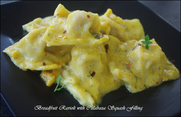Breadfruit Ravioli with Calabaza Squash Filling Copyright Taymer Mason